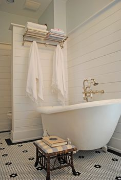 Cottage Full Bathroom with Clawfoot, penny tile floors, Cheviot 54 inch cast iron slipper clawfoot tub with white feet