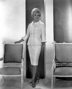 """3/10/14 7:32p Universal International Pictures  """"Lover, Come Back""""   Doris Day  Rock Hudson Tony Randall   White Two-Piece  White Brocade  Outfit.  1961 imdb.com"""
