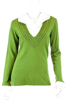 TORY BURCH MERINO WOOL OLIVE WHITE BLOUSE TRIM SWEATER, SIZE M