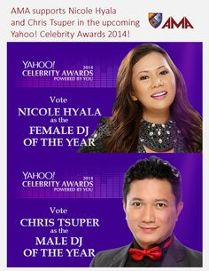 Have you voted for Nicole and Chris already? Go to this link to vote for Nicole Hyala: https://ph.celebrity.yahoo.com/celebrity-awards/female-dj/ Go to this link to vote for Chris Tsuper: https://ph.celebrity.yahoo.com/celebrity-awards/male-dj/