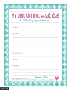 What's your Mother's Day Origami Owl® Wish List?  Print this out and have your spouse or kids contact me!  Follow BRENDA STER on Facebook for more info!  http://www.facebook.com/charmedsuite