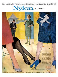 Vintage French ad for Du Pont Nylons (1959) vintage 1950s stockings hosiery ad, advertisement.