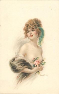lady with revealing filmy wrap, roses in right hand, blue tassel & head-band, faces right looks front