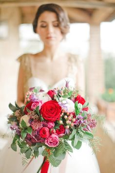 Red and pink wedding bouquet.