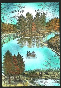 nice Stampscapes scene of men in canoe on small lake surrounded by trees