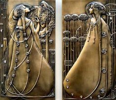 Pair of art nouveau wall plaques, Charles Rennie Mackintosh Charles Rennie Mackintosh, Azulejos Art Nouveau, Design Art Nouveau, Jugendstil Design, Bijoux Art Nouveau, Glasgow School Of Art, Glasgow Girls, Art And Craft, Art Crafts