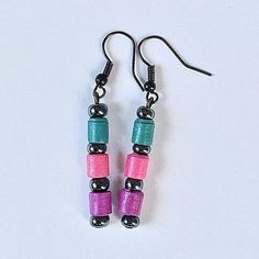 Teal Magenta Purple Earrings / Paper Dangling Drop Earrings /