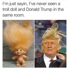 I'm Just Sayin I've Never Seen a Troll Doll and Donald Trump in the Same Room Fb Memes, Funny Memes, Hilarious, Funny Quotes, Donald Trump Images, Mejor Gif, Troll Dolls, Can't Stop Laughing, Funny Facts