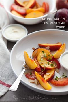 Ripe stone fruit are macerated in a fragrant lemon thyme syrup and served with crème fraiche in this easy warm weather dessert.