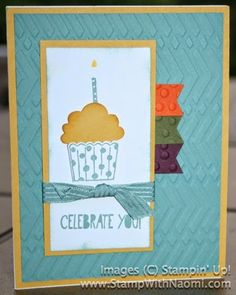 """Stampin' Up! Stamps: Cupcake Party, Lost Lagoon CS, Blackberry Bliss CS, Hello Honey CS, Mossy Meadow CS, Tangelo Twist CS, Lost Lagoon Ink, Hello Honey Ink, Lost Lagoon 3/8"""" Stitched Ribbon, Zig Zag Embossing Folder, Sponge, Cupcake Builder Punch, Banner Punch, Decorative Dots Embossing Folder.  Designed by Kim Hlaing. #stampinup #SUO #cupcakeparty"""