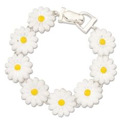 Delightful linked daisies with magnetic closure.