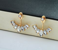 Flower Ear Jacket, Diamond Ear Cuff, Gold Ear Climbers Ear Crawlers Earrings - Rosa Vila Jewelry - 1