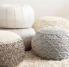 RH TEEN's Hand-Knotted Macramé Pouf - Ivory:A favorite from the macramé is a must-have for modern style seekers who value its natural texture and organic appeal. Ours is intricately hand knotted – and gives this classic pouf its hipster credentials. Moroccan Decor, Moroccan Bedroom, Moroccan Lanterns, Moroccan Pouf, Moroccan Interiors, Moroccan Tiles, Puff Gigante, Diy Pouf, Living Room Pouf