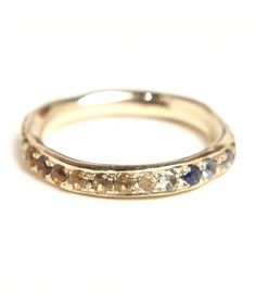 eternity rainbow sapphire organic ring