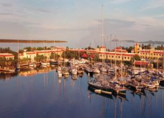 Aerial view of harbor and yachts at the resort - Bonaire