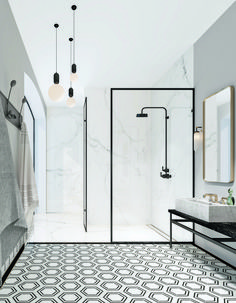 Modern Monochrome Bathroom Ideas: Black & White Bathroom Inspiration The Crittall-inspired interiors Bathroom Countertop Design, Bathroom Interior Design, Bathroom Designs, Art Deco Bathroom, Bathroom Cabinets, Wood Cabinets, Basement Bathroom, Small Bathroom, Modern Bathrooms