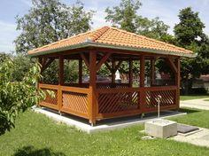 Wooden Summer House, Gazebos, Pergola, Cottage, Backyard, Outdoor Structures, Garden, Yard Ideas, Decoupage