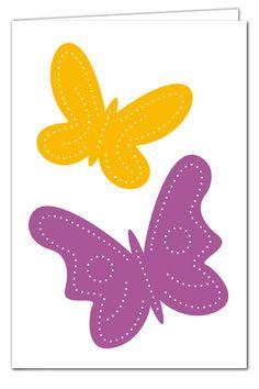Grußkarte zum Prickeln - Schmetterlinge Lila/Orange - mit farbigem Umschlag
