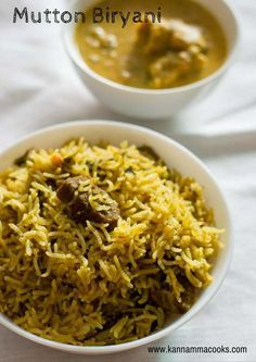 Simple and easy recipe for Mutton Biryani made in the pressure cooker. With step by step pictures. Fried Fish Recipes, Veg Recipes, Indian Food Recipes, Chicken Recipes, Cooking Recipes, Recipe Chicken, Lamb Recipes, Butter Chicken, Recipes