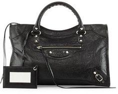 30180d2060aef5 Classic Nickel City Bag, Black by Balenciaga at Neiman Marcus.