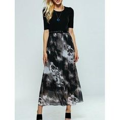 DressLily - Dresslily Ink Print Belted Maxi Dress - AdoreWe.com