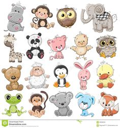 Set of Cute Animals on a white background - Cute animals set illustration of cute animals set and royalty-free stock vector art - Cute Cartoon Animals, Baby Animals, Cute Animals, Cartoon Mignon, Baby Animal Drawings, Cute Drawings Of Animals, Illustration Mignonne, Art Mignon, Cute Animal Illustration