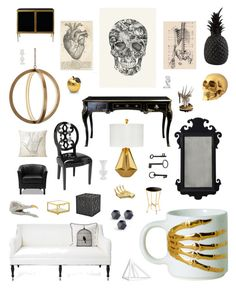 """""""skeletal"""" by crystalliora ❤ liked on Polyvore featuring interior, interiors, interior design, home, home decor, interior decorating, Original Vintage Style, Nate Berkus, Shine by S.H.O and Imm Living"""