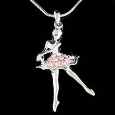 Charm Chain Necklace Long Sweater Chains Ballerina Dancer Pandent Necklace HICA
