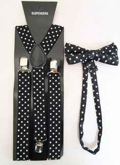 NEW Fashion Black /& White Zebra Print Formal Adjustable Bow tie /& Suspender Set