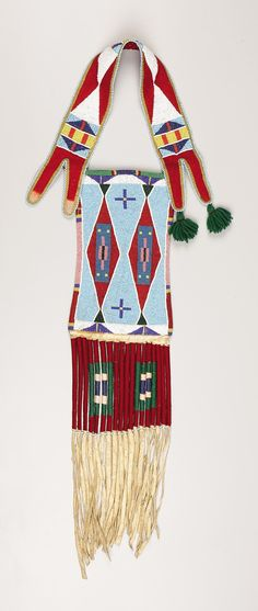 A CROW BEADED HIDE MIRROR BAG. . c. 1910. ... American Indian   Lot #77305   Heritage Auctions
