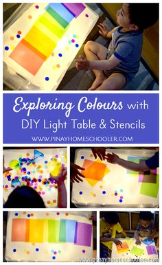 exploring colors at the light table with preschoolers
