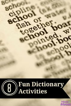 8 Fun Dictionary Activities - Minds in Bloom
