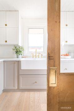 Kitchen designed by Coco & Jack with Emtek Pocket Door hardware. Read More: www…. Kitchen designed by Coco & Jack Küchen Design, Design Case, Layout Design, House Design, Interior Design, Coastal Interior, Design Ideas, Salon Design, Tile Design