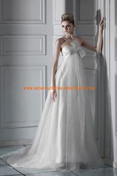 A-linie Glamouröse Dramatische Brautkleider aus Softnetz mit Schleife
