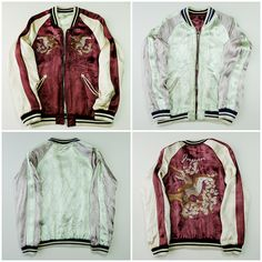 Japanese Vintage IOLANI Hawk Bird Eagle Sakura Cherry Blossoms Brown Embroidered Embroidery Quilted Satin Souvenir Sukajan Jacket - Japan Lover Me Store