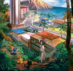 "shelgon: "" Special artwork of Hau'oli City """