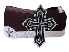 5 Star Equine Products 100% Virgin Wool - Custom Pad with Custom Full Length Hair on Wear Leathers and Cross Embroidery/Inlay with Crystals! www.5starequineproducts.com