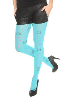 Hello Kitty Nerd Turquoise Tights - Oh if I were younger to pull these off