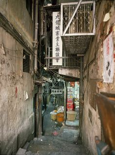 On-Mirror's-Edge Forums / Kowloon Walled City Zombies, Kowloon Hong Kong, Kowloon Walled City, The Babadook, Cyberpunk City, Dark City, Alleyway, Urban Architecture, City Aesthetic