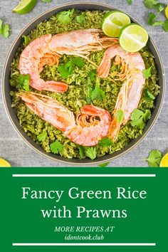 The most delicious meal that you and your family will never get tired of! Green rice and prawns! The best spanish flavors on one plate. Green Rice, Indian Food Recipes, Ethnic Recipes, Dinner Sides, Prawn, Along The Way, Kale, Tired
