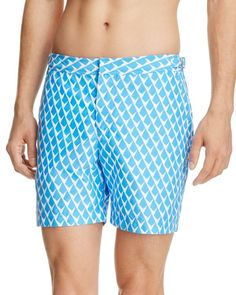 Orlebar Brown Bulldog Blue Geo Print Swim Trunks