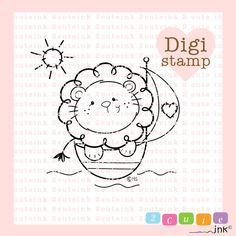 Sail Away Lion Digital Stamp - Digital Lion Stamps - Lion Stamp - Baby Stamp - Lion Art - LionCard Supply - Baby Craft Supply Lion Coloring Pages, Creation Art, Lion Art, Machine Embroidery Applique, Baby Art, Cartoon Pics, Digi Stamps, Baby Crafts, Cute Illustration