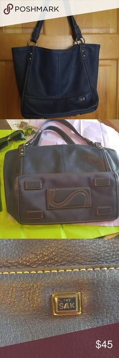 """❄December Sale❄ ❌❌FINAL REDUCTION--WILL BE DELETED❌❌SAK tote/shoulder bag in Twilight blue with White/Tan (?) stitching. Excellent used condition. Buttery soft leather, silver hardware, tan interior, zip pocket and 2 misc pickets, snaps on inside make conversion to Tote. Tag says """"4 Poster Shopper"""". Strap drop is 8"""". SAK Bags Shoulder Bags"""