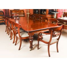 A fantastic dining set comprising an antique William IV dining table and ten vintage dining chairs. Buy Dining Table, Mahogany Dining Table, Vintage Dining Chairs, Dining Set, Mahogany Furniture, Vintage Bar, Table And Chair Sets, Side Chairs, Antiques