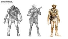 """Three sketches of Chewbacca by Ralph McQuarrie"""" Sources - Left: A Gallery of Imagination at Celebration V (2010) / Center: StarWars.com interview (2004) / Right: The Art of Star Wars, page 66."""