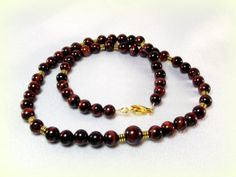 Men's Red Tiger's Eye Necklace  Rasberry Jubilee Men's Beaded Necklace by Designed By Audrey, on Etsy - $56.00