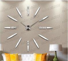 El Envío gratuito Nueva de gran tamaño reloj de pared creativo diy arte moderno reloj de pared de fondo personalizada muro de silencio relojes LLFA2882F