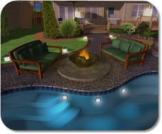 Kidney shaped pool. Concrete area with lawn.