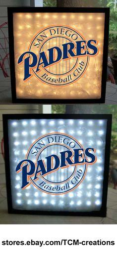MLB Major League Baseball San Diego Padres shadow boxes with LED lighting
