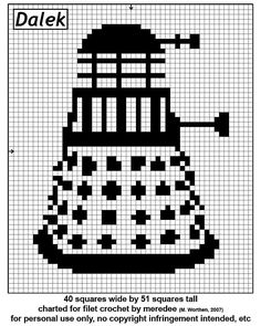 Dalek cross stitch pattern